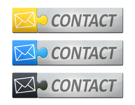 A stylish web banner with text contact photo