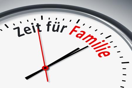 konzept: Eine Uhr mit Text Zeit für Familie Stock Photo