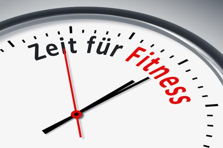 konzept: Eine Uhr mit Text Zeit fuer Fitness