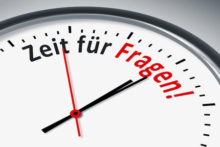konzept: Eine Uhr mit Text Zeit fuer Fragen! Stock Photo