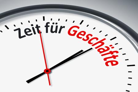 konzept: Eine Uhr mit Text Zeit fuer Geschaefte Stock Photo