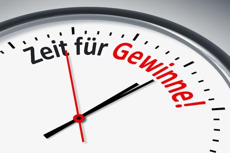 konzept: Eine Uhr mit Text Zeit fuer Gewinne