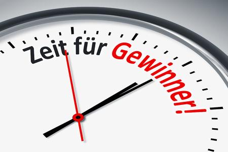 konzept: Eine Uhr mit Text Zeit fuer Gewinner