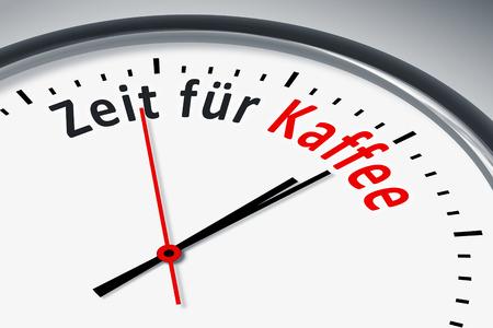 hintergrund: Eine Uhr mit Text Zeit fuer Kaffee