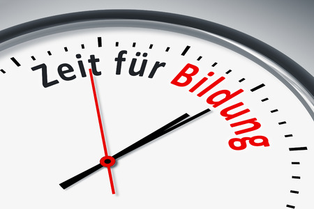 A clock with text time for education Standard-Bild