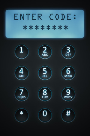 dial plate: An image of a digital dial plate with text enter code