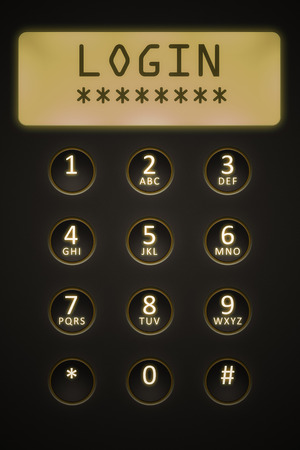 dial plate: An image of a digital dial plate with text login