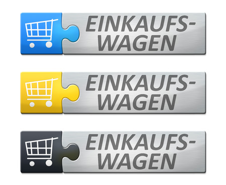 A stylish web banner with text shopping cart in german language photo
