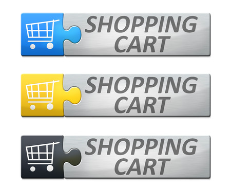 A stylish web banner with text shopping cart photo