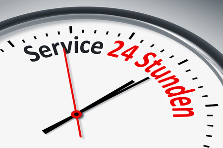 24 hour: A clock with text service 24 hours