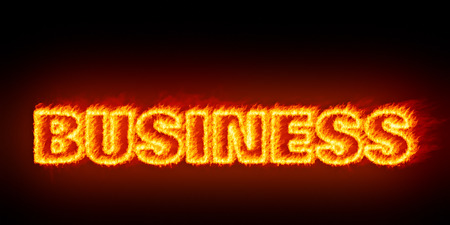 burn out: An image of a burning word business Stock Photo