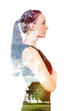 A beautiful woman double exposure with nature photo