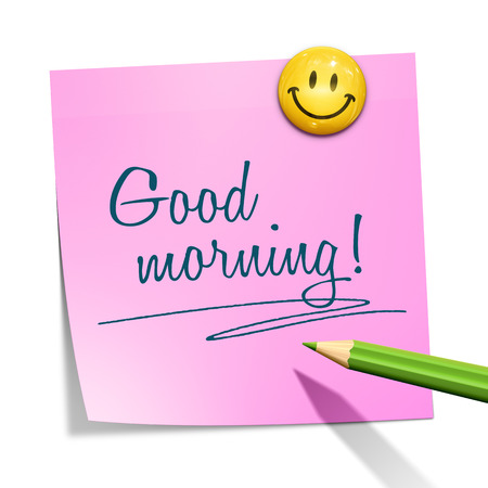 yellow sticky note: An image of a sticky paper with the message good morning Stock Photo