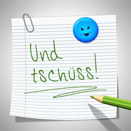 bye: A sticky paper with the message bye bye in german language