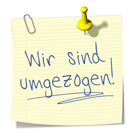 moved: A sticky paper with the message we moved in german language Stock Photo