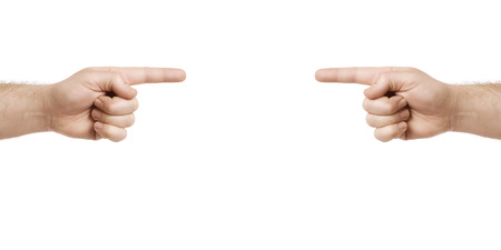 An image of two hands pointing to something photo