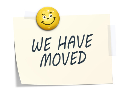 we have moved: A sticky paper with the message we have moved Stock Photo