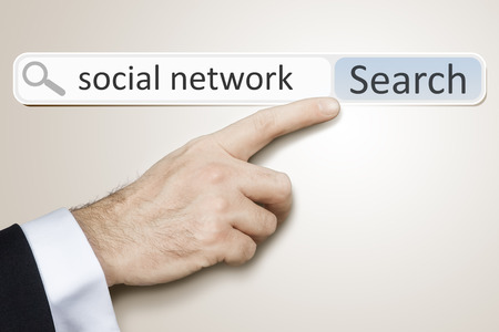 An image of a man who is searching the web after social network photo
