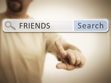 An image of a man who is searching the web after friends photo