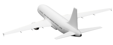 rear wing: An image of a plane rear view isolated on white Stock Photo