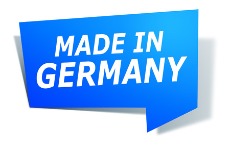 An image of a stylish blue design label with text made in germany photo