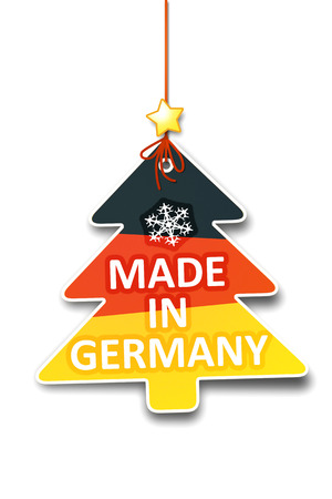 A beautiful christmas tree tag with the message made in germany photo