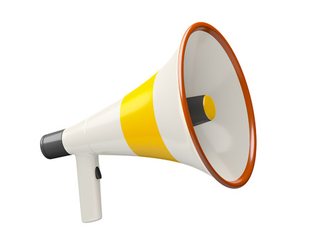 An image of a typical megaphone isolated on a white background photo