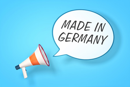 A megaphone with a speech bubble and the message made in germany photo