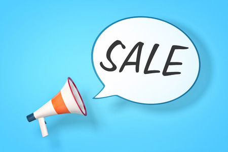 A megaphone with a speech bubble and the message sale photo