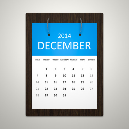 event planning: An image of a stylish calendar for event planning December 2014 Stock Photo