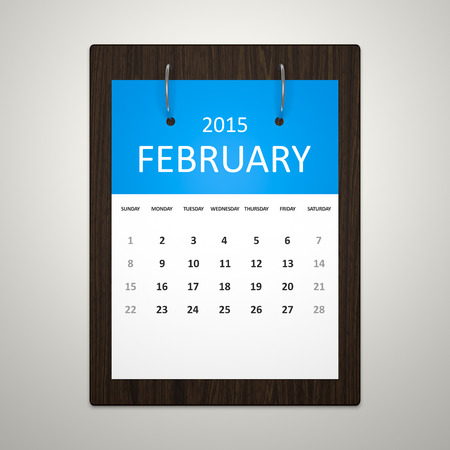event planning: An image of a stylish calendar for event planning February 2015 Stock Photo