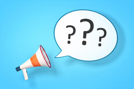 A megaphone with a speech bubble and three questionmarks photo
