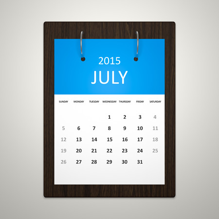 event planning: An image of a stylish calendar for event planning July 2015 Stock Photo