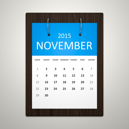 event planning: An image of a stylish calendar for event planning November 2015 Stock Photo