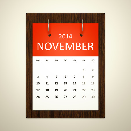 event planning: An image of a german calendar for event planning november 2014