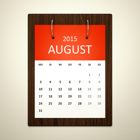 event planning: An image of a german calendar for event planning august 2015