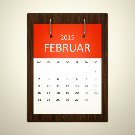 event planning: An image of a german calendar for event planning february 2015