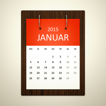 event planning: An image of a german calendar for event planning january 2015 Stock Photo