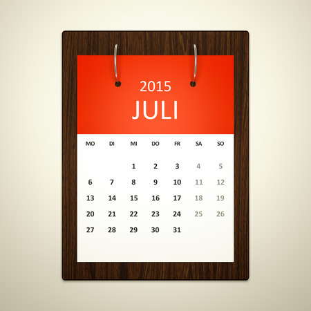 event planning: An image of a german calendar for event planning july 2015