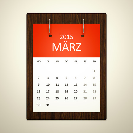 event planning: An image of a german calendar for event planning march 2015