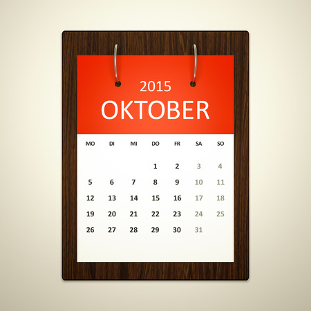 event planning: An image of a german calendar for event planning october 2015