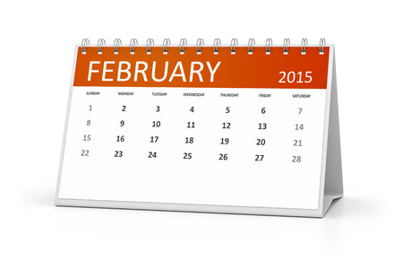 table calendar: An image of a table calendar for your events February 2015 Stock Photo