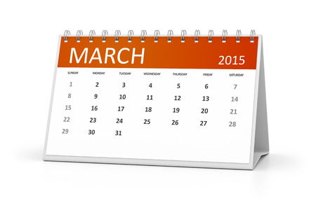 table calendar: An image of a table calendar for your events March 2015 Stock Photo