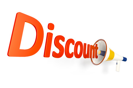 An image of a megaphone shouting the word discount photo