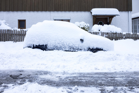 An image of a car covered in snow Stock Photo