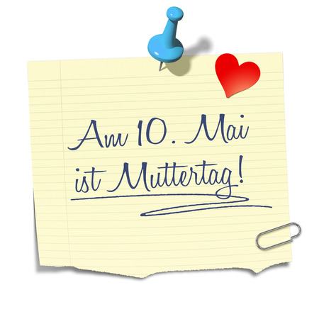 10th: A paper with the message 10th of May is Mothers Day in german language Stock Photo