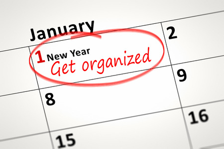 january 1st: An image of a calendar detail shows first of January with the text get organized