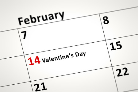 14th: An image of a calendar detail shows february the 14th Valentines Day in german language