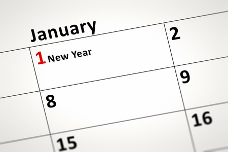 january 1st: An image of a calendar detail shows January the first New Year