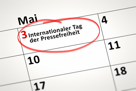 3rd: An image of a calendar detail shows may the 3rd World Press Freedom Day in german language Stock Photo